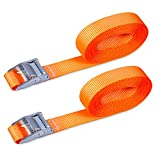 Cartman 1' x 12' Lashing Straps up to 600lbs, 2pk Orange