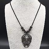 N/A Regalo Colgante de Collar de Mujer Collar de Acero Inoxidablegótico de Moda paraMujer, Collares Largos de Cuentas de Color Negro, Colgantes, joyería