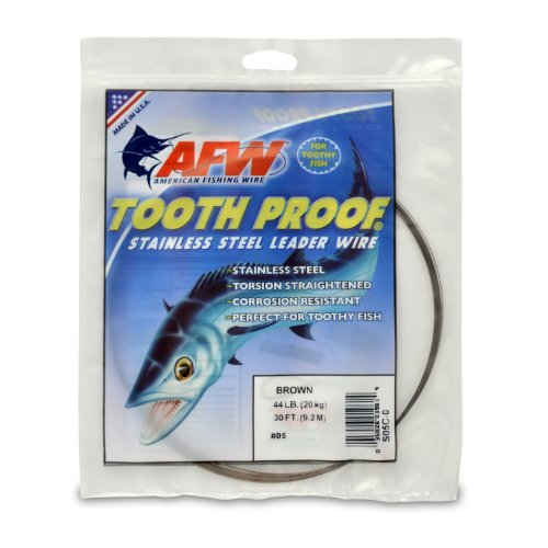 American Fishing Wire Zahnfester Edelstahldraht, einsträngig, Größe 7, Camo Brown Farbe, 31,3 kg Test, 1/4 kg Spule