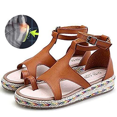 EVR Plataformas Sandalias de Mujer Plana Cuero de PU Zapatillas Corrector de juanetes ortopédico Casuales Antideslizante Respirable Zapatos ortopédicos Viaje Verano Playa,Marrón,38