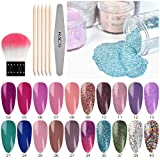 KADS Dip Powder Nail Colors Set with 20 Colors Dipping Powder Nails System for French Nail Manicure Nail Art No Nail Lamp Needed Acrylic Dipping Powder Gradient Nude Glitter Flakes (Fiery Love)