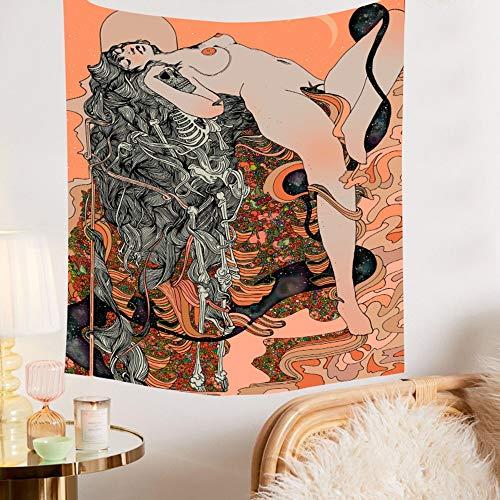 Tapiz psicodélico de niña de flores Hippie Art Paño de pared Toalla de playa en fondo decorativo Tapiz de tela A2 180x200cm