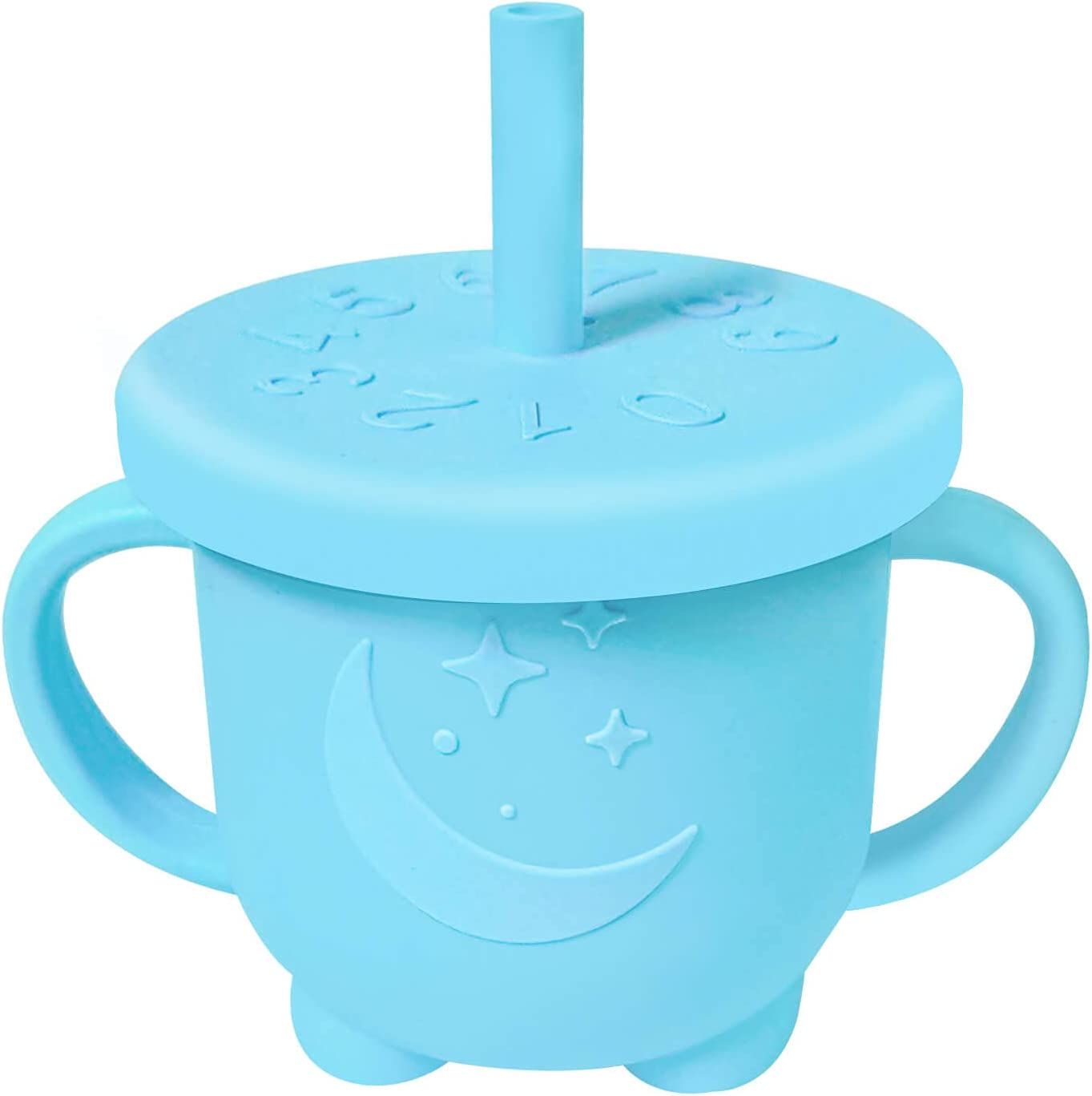 Toddler Cups, Food Grade Silicone Sippy Cups, Innovative Spill-proof, Leak-proof and Drop-proof Baby Training Cup with Air Vent, Unbreakable, Easy to Drink,7oz, 6+ Months (Blue)