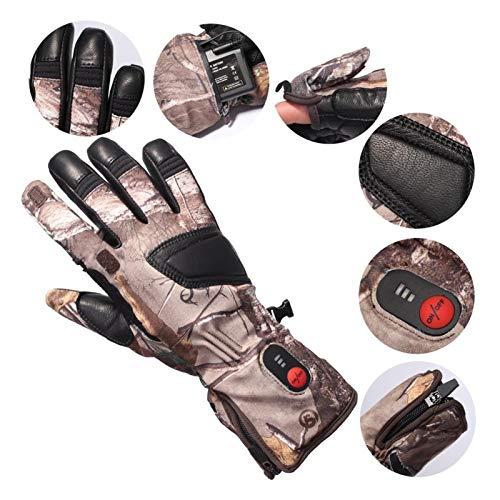 Huiy Guantes de calefacción eléctricos de transmisión de fibra de carbono unisex para correr, esquí y ciclismo, guantes de béisbol (color: camuflaje tipo corteza, tamaño: S)