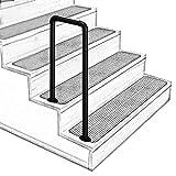 U-Shaped Matt Black Non-Slip Wrought Iron Stair Handrail, 2-Step or 3-Step Indoor and...