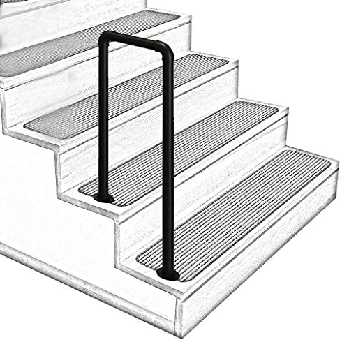 U-Shaped Matt Black Non-Slip Wrought Iron Stair Handrail, 2-Step or 3-Step Indoor and Outdoor Elderly Children