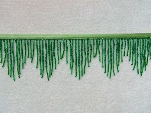 "SALE! Beautiful 3"" Wide Emerald Green All Glass Beaded Fringe Trim ~ Lampshades ~ BTY"