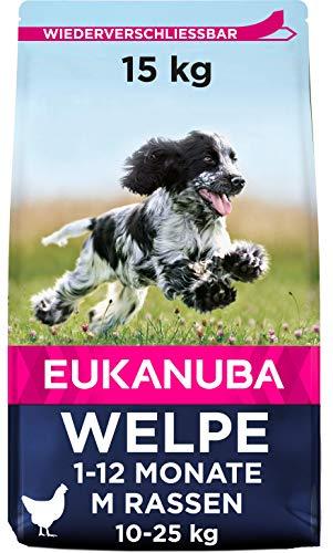 Eukanuba Welpenfutter mit frischem Huhn für mittelgroße Rassen, Premium Trockenfutter für Junior Hunde, 15 kg