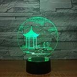 Antiker Pavillon 3D Lampe Nachttischlampe, Nachtlicht Fürs Kinderzimmer, Led Lampe Fürs Wohnzimmer