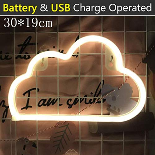 1Pcs Cute LED Neon Sign Light Cloud Lips Moon Neon Light Holiday Party Wedding Decorations USB Night Lamp Home Decor, Cloud -Warm