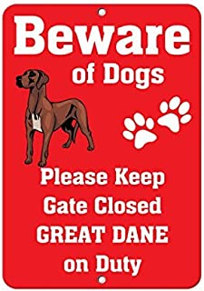 Great Dane Dog Beware of Fun Aluminum Metal Sign for Garage Easy to Mount Indoor & Outdoor Use