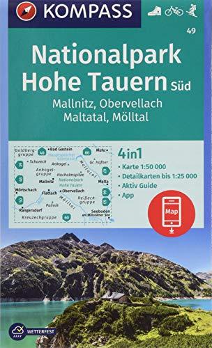 KOMPASS Wanderkarte Nationalpark Hohe Tauern Süd, Mallnitz, Obervellach, Maltatal, Mölltal: 4in1 Wanderkarte 1:50000 mit Aktiv Guide und Detailkarten ... in der KOMPASS-App. Fahrradfahren. Skitouren.