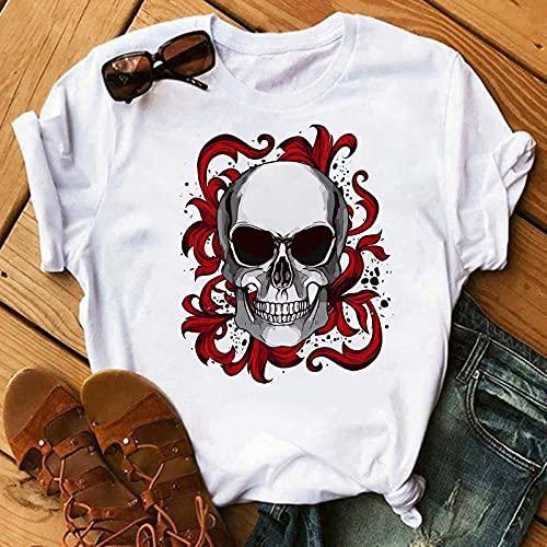 VIQNJ Camiseta de Las Mujeres de Turbante Rojo Calavera Moda Camiseta de Verano gráfico Negro Camiseta Top Damas Estampado de Mujer camiseta-32_L