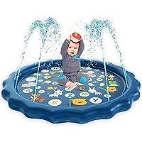 170CM Large Sprinkle Mat: splash pad da 68 pollici per i più piccoli offre più spazio per giocare, abbastanza per una famiglia. Il tappetino antincendio può spruzzare continuamente come una fontana. La piscina innovativa ha un tappetino di apprendime...
