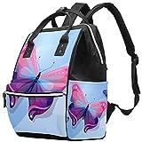 WJJSXKA Mochilas Bolsa de pañales Laptop Notebook Mochila de Viaje Senderismo Mochila para Mujeres Hombres - paquete de vector de mariposa
