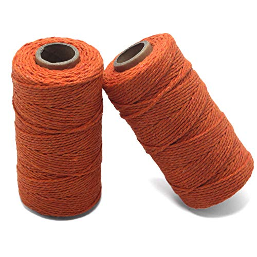 YZSFIRM 2mm Cotton Twine Rope,Orange String Bakers Twine for DIY Crafts and Gift Wrapping(2 Roll 656 Feet)