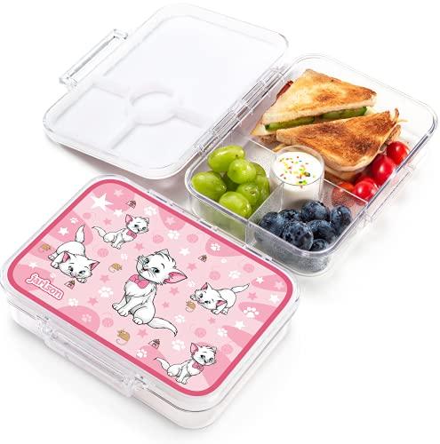 JARLSON® Brotdose für Kinder mit 4 Fächern - Lunchbox aus Tritan - Bento Box auslaufsicher – Jausenbox für Kindergarten und Schule - Mädchen und Jungen - 850ml (Katze)