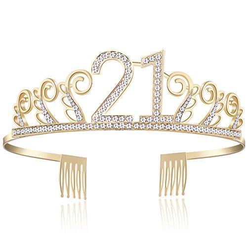 BABEYOND Kristall Geburtstag Tiara Birthday Crown Prinzessin Geburtstag Krone Haar-Zusätze Rosa oder Silber Diamante Glücklicher 18/20/21/30/40/50/60/90 Geburtstag (21 Jahre alt Gold)