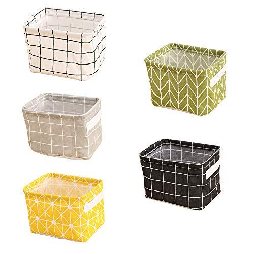 wongwongcat Canvas Storage Bins, Fabric Storage Basket, Desktop Storage Box, Baby Toy, Makeup, Book, Sundries Organizer Case Bag (5PCS)