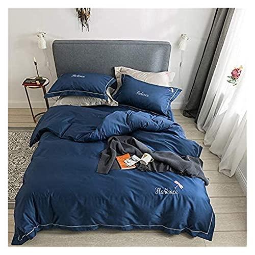 Juego de edredón de cama tamaño queen, ropa de cama de algodón azul, funda de sábana de 4 piezas, para cama de 1,5-1,8 m, funda de sábana bordada de 200 230 cm, funda de almohada funda nórdica de