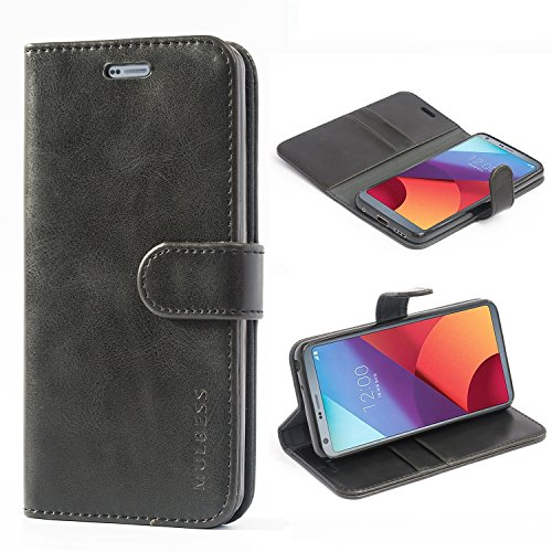 Mulbess Handyhülle für LG G6 Hülle Leder, LG G6 Handytasche, Vintage Flip Schutzhülle für LG G6 Hülle, Schwarz