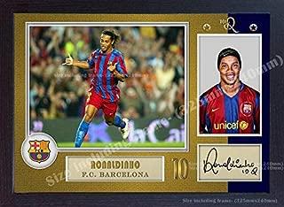 S&E DESING Ronaldinho Barcelona Signed Autograph Photo Poster Print Framed
