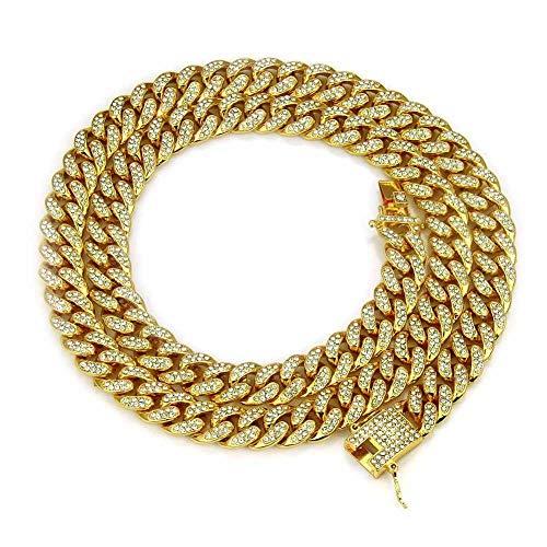 BGPOM Halskette Hip Hop Halskette Herren Diamant Große Goldkette Halskette Großhandel Halskette, Vollbohrknopfkopf - Gold - 30 Zoll