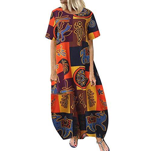 TWIFER Damen Casual Plus Size O-Neck Print Vintage Short Sleeve Loose Long Dress