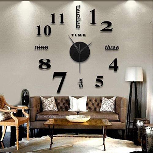 JKKJ Orologio da parete senza cornice per soggiorno, moderno, adesivo 3D con superficie a specchio, grande orologio da parete fai da te per casa e ufficio