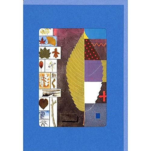 グリーティングカード 風水 ウィンドウシリーズ「葉のコラージュ」 窓付き イラスト メッセージカード 輸入雑貨