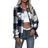 Pabuyafa Chaqueta de manga larga a cuadros para mujer, blusa de lana abotonada con solapa, blusa de lana para abrigo, informal, con bolsillo, azul marino, L
