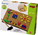 HABA Tap & Tack Imaginative Design Play Set with Corkboard, Hammer, Templates and 100 Wooden Tiles