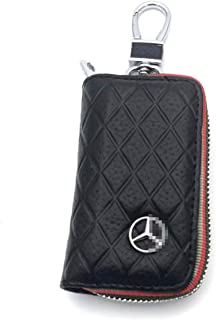 DEFTEN The Mercedes-Benz Premium Leather Car Key Chain Coin Holder Zipper Case Remote Wallet Bag for Benz C200.E200.S500.GLS.GLC is Suitable for All Mercedes-Benz Models (Black)
