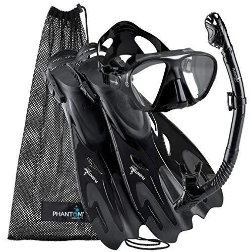 Phantom Aquatics Italian Collection Legendary Panoramic View Mask Fin Dry Snorkel Set with Deluxe Snorkeling Gear Bag…