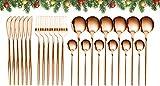 GUANGE Juego de cubiertos de 24 piezas, juegos de cubiertos de acero inoxidable, juego de cucharas y tenedores, servicio para 6, cubiertos con espejo, tenedores y cucharas, cubiertos, oro rosa