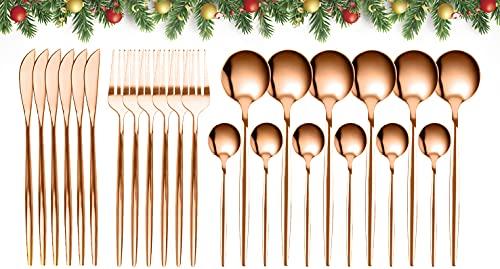 GUANGE Set di posate da 24 pezzi, set di posate in acciaio inossidabile, cucchiai e forchette Servizio per 6, posate a specchio, forchette e cucchiai, argenteria, oro rosa