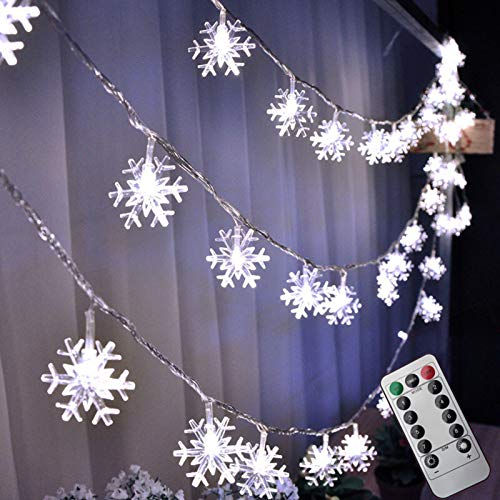 String Lights,Snowflake Lights,Indoor and Outdoor Decorations,16.4 Inches 50 LED,Battery Powered,Eight Lighting Modes Controlled by Remote Control