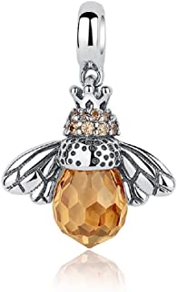 PHOCKSIN Queen Bee 925 Sterling Silver Animal Charms November Birthstone Birthday Gifts Yellow CZ Pendant