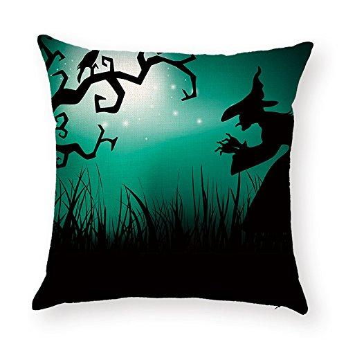 hengjiang Halloween Kissen Graveyard Specter Hexe Ghost Gemälde 120g Dicke Baumwolle Leinen doppelseitig 18x 18/45x 45cm Überwurf Kissen für Home Sofa Bett Deko 03