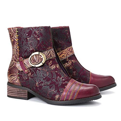 Camfosy Leren laarzen met korte schacht met hak, damesschoenen, bonte bloem, slipvast, modieus, casual midden, booties, herfst winter.