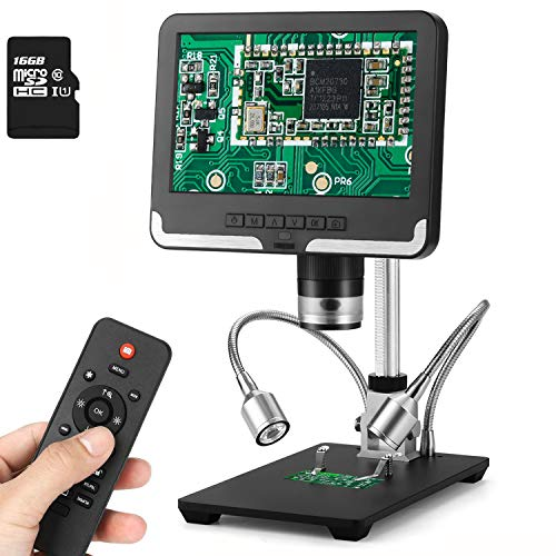 AMOPER 7 inch LCD Digital Microscope 10X-200X Camera Video Recorder with 16G SD Card, Remote Control 8 + 2 LED Lights USB Microscope for Adults Electronic Soldering Circuit Board Repair