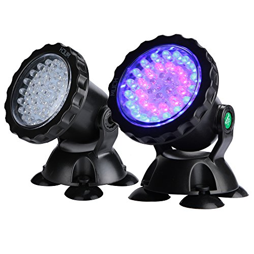 MUCH Underwater Light Waterproof IP 68 Submersible Spotlight with 36-LED Bulbs 2.5W Color Changing Spot Light for Aquarium Garden Pond Pool Tank Fountain Waterfall (1 Set of 2pcs)