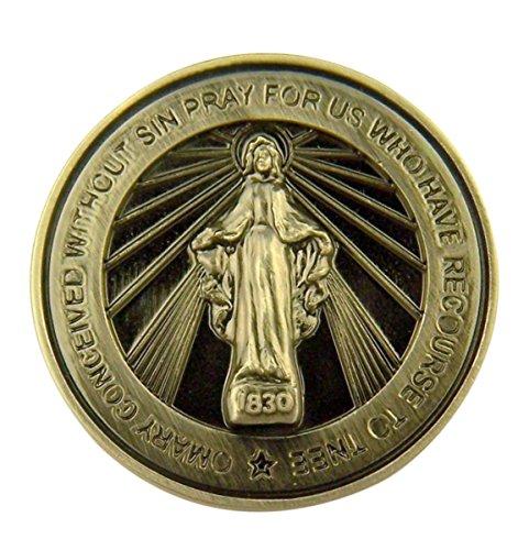 singer star case Silver Tone Faithful Protector Pocket Token with Prayer - Miraculous Medal