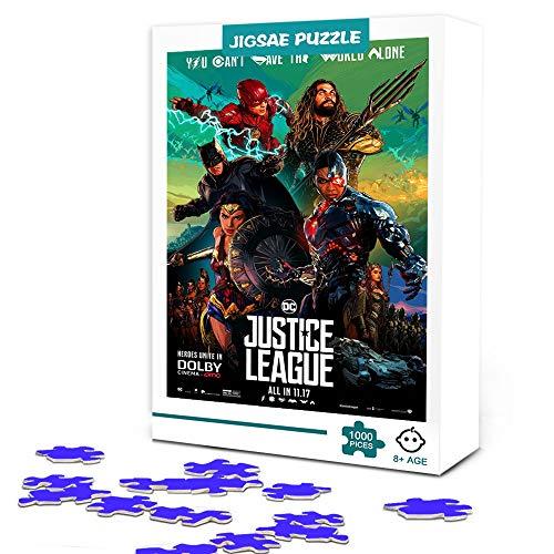 Puzzle de 300 piezas, póster de película de la Liga de la justicia, juego de películas, rompecabezas de póster de estrella de cine familiar, desafío intelectual, juguete educativo 38x26cm