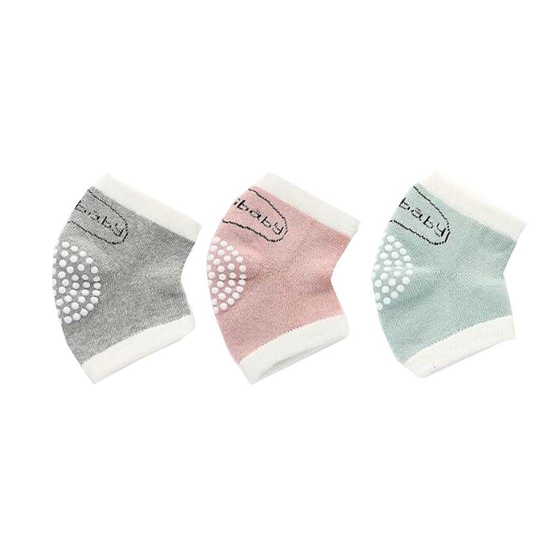 シロクマスパイラル複製3組のアンチスリップ弾性調節可能な膝パッドベビーニーパッド