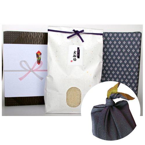 新潟県産コシヒカリ (アイガモ農法・米袋:白・包装紙:青・風呂敷:青)2キロ