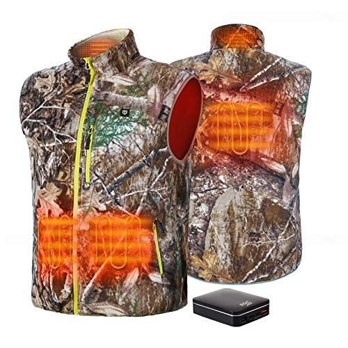 TIDEWE Men's Lightweight Heated Vest with Battery Pack (Camo, Size S)