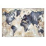 WSF-MAP, 1 stück Aquarell Vintage Weltkarte Leinwand Malerei Poster und Drucke Scandinavian Cuadros Wandkunst Bild Für Wohnzimmer Wohnkultur (Farbe : FB464, Size (Inch) : 20X30cm Unframed)