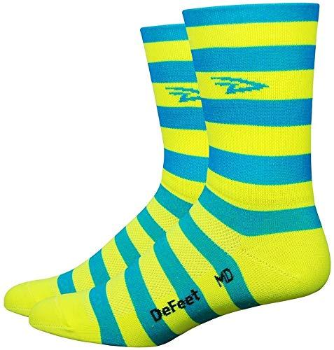 Defeet Aireator Striper Cuff Socks, Unisex-Erwachsene Damen Jungen Mädchen, blau/gelb, Medium