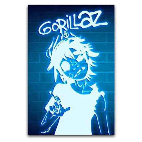 jinshang Gorillaz Neon-Poster, dekoratives Gemälde, Leinwand-Kunst-Poster und Wandkunst, Bild, Druck, moderne Familie, Schlafzimmer, Dekoration, Poster, 30 x 45 cm